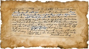 Deed of sale written on aged paper (small)