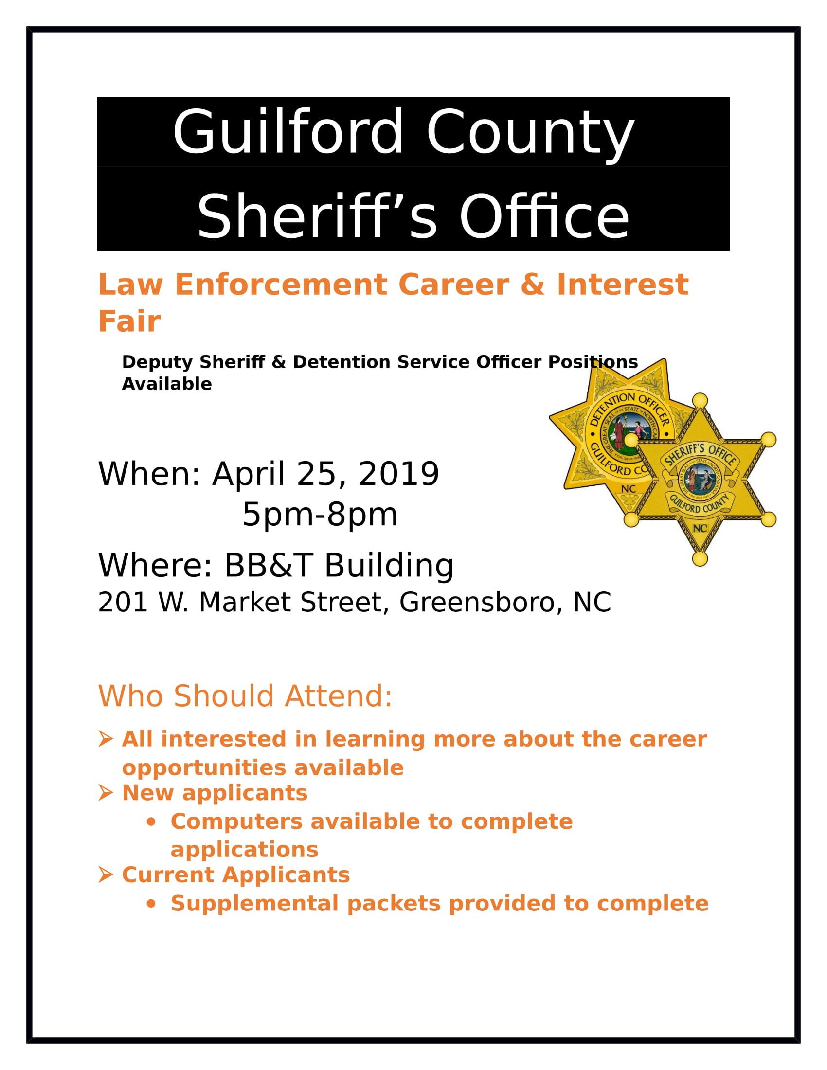 GCSO Law Enforcement Career & Interest Fair Announcement