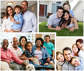 Collage of photos of smiling families