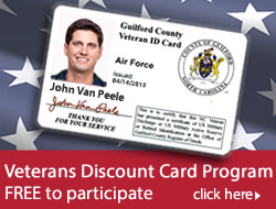 Veteran's Discount Card Program banner featuring sample card