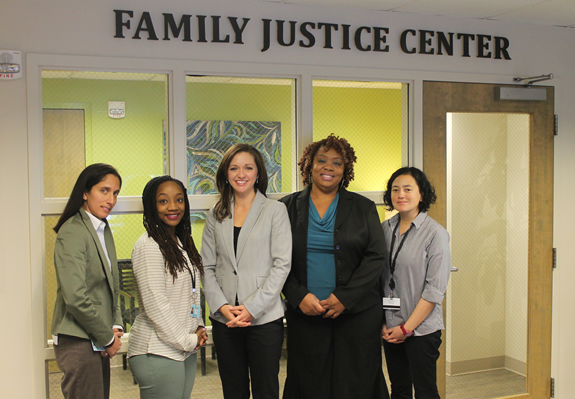 Group of smiling women in front of FJC